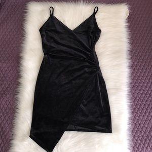 Asymmetrical cut front wrap mini dress